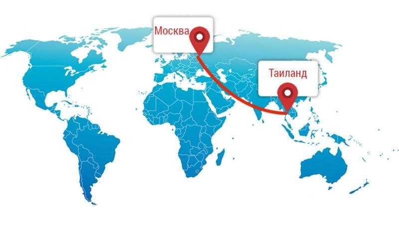Расстояние до Тайланда из Москвы на самолете