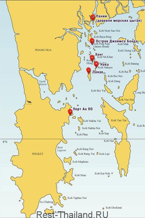 карта залива Пханг Нга