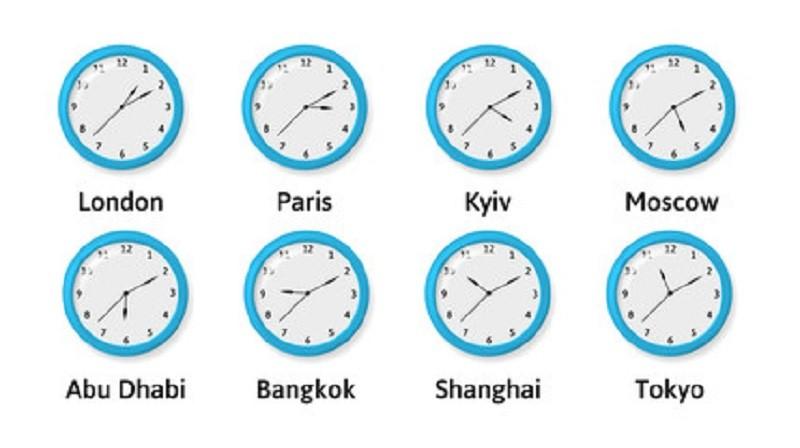 Часы разных часовых поясов