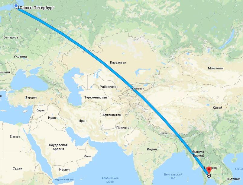 расстояние от санкт-петербурга до таиланда