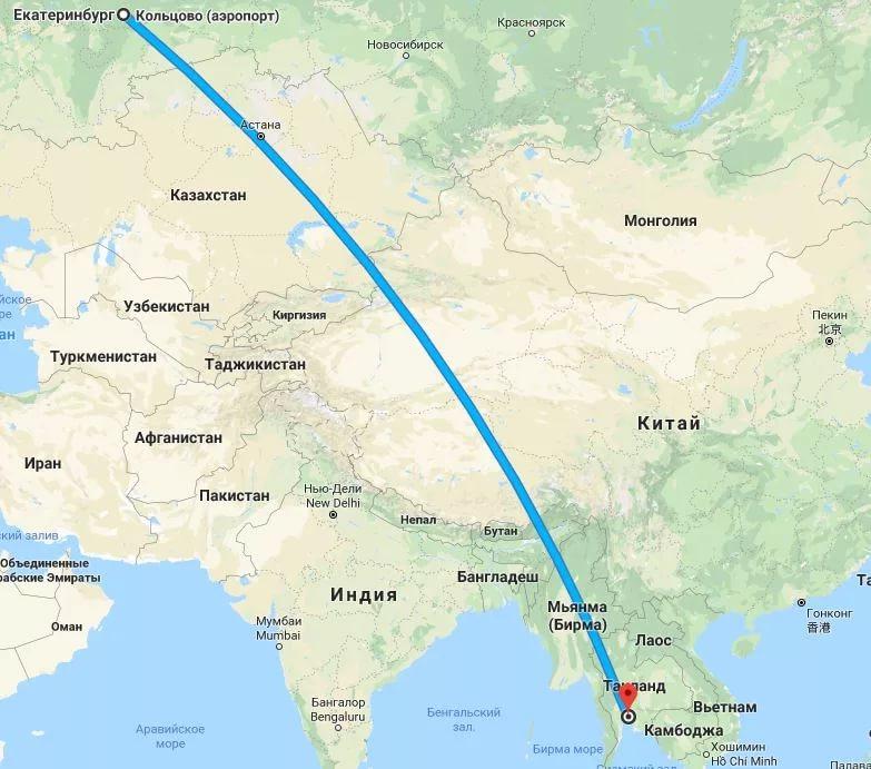 Екатеринбург Пхукет маршрут полета